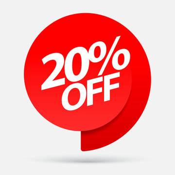 Sale of special offers. Discount with the price is 20 . An ad with a red tag for an advertising campaign at retail on the day of purchase. vector illustration