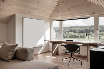 Light modern interior with sloping wooden ceiling