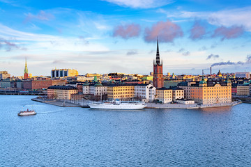 Panorama of Gamla Stan, Old Town in Stockholm, Sweden Wall mural