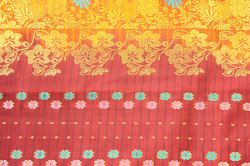 Indian silk sari with colorful pattern and design