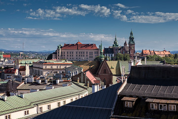 View of Krakow in one of the towers of the Wawel Castle, Poland