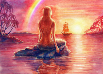 Painting fantasy watercolor landscape with mermaid silhouette, seascape with nixie, water nymph, undine, seamaid in sea, beautiful sunset, ocean, palm trees, hand drawn background