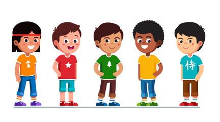 Happy multiethnic preschool boys standing in line