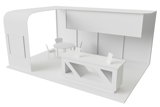 Exhibition stand for promotion with table and chair for clients and visitors 3d render mock up.