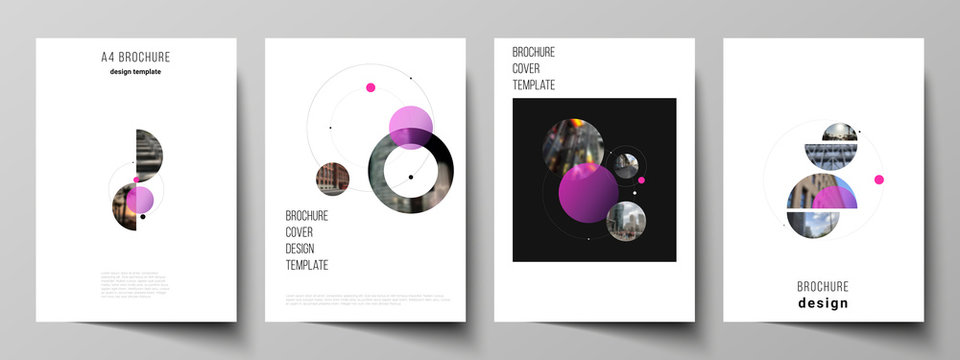 Vector layout of A4 format modern cover mockups design templates for brochure, flyer, booklet, report. Simple design futuristic concept. Creative background with circles that form planets and stars.