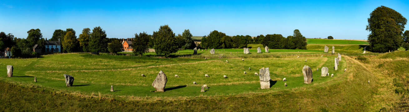 Panoramic view of the stone circle at Avebury Great Henge, a UNESCO world heritage site dating back 5000 years, in Wiltshire, England