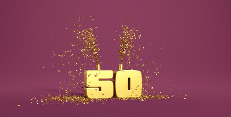 fifty years old, word in 3D golden on a purple background