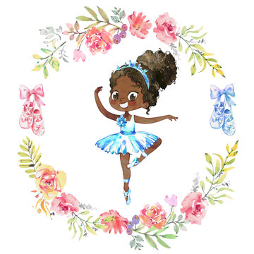 Watercolor African American Ballerina. Ballet Girl Surrounded by floral wreath. Ballerina Wearing Blue Tutu. Elegant Little Child Posing Training Ballet Collection Poster Design for Print. Watercolor