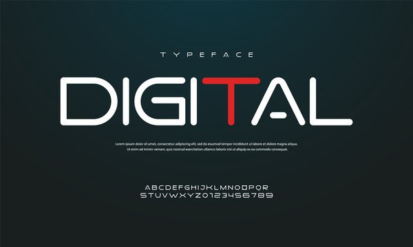 """""""digital"""" Modern rounded font, the concept of technical, sports, future font. Vector illustration."""