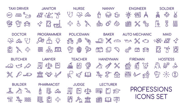 Professions linear big icons set. Occupations items and objects. Career thin line contour symbols collections. Professional workers tools and equipment bundle. Isolated vector outline illustrations