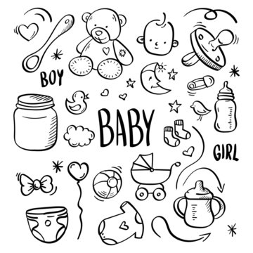 baby hand drawn, kids set