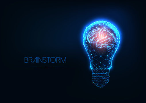 Brainstorm concept with futuristic glowing low polygonal light bulb and human brain.
