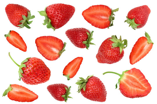 Strawberries isolated on white background. Top view. Flat lay pattern