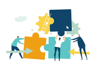People moving the puzzle pieces. Solving problem, achievement and working in progress concept  Fotobehang