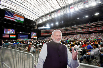 """A cardboard cutout of Indian Prime Minister Modi during a """"Howdy, Modi"""" rally at NRG Stadium in Houston"""