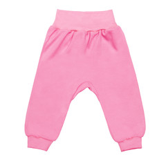 pink baby drawers pants. child trousers isolated on white background
