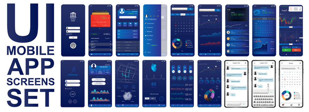 Great set UI for mobiles app. Different screenshots in flat style. Smartphone App screen set in flat style (Fitness, economic, analytic, business dashboard). UI, UX, KIT, interface. Vector elements