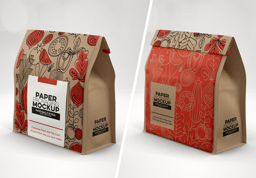 Paper Bag with Clip Seal Mockup