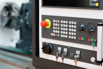 modern turning machine with CNC control panel