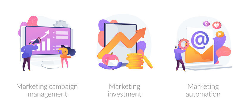 Company promotion icons set. Cost optimization, capital spending. Marketing campaign management, marketing investment, marketing automation metaphors. Vector isolated concept metaphor illustrations.