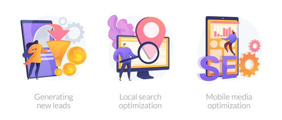 Marketing campaign icons set. Customer attraction, SEO promotion. Generating new leads, local search optimization, mobile media optimization metaphors. Vector isolated concept metaphor illustrations.