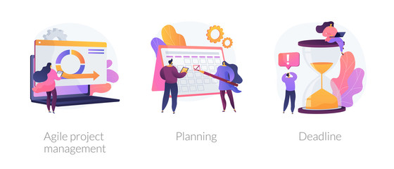 Task management and productivity icons set. Workflow organization and optimization scheme. Agile project management, planning, deadline metaphors. Vector isolated concept metaphor illustrations.