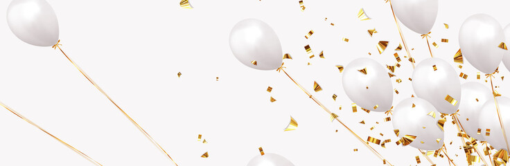 Background with festive realistic balloons with ribbon. Celebration design with baloon, color white, studded with gold sparkles and golden glitter confetti. Celebrate birthday template