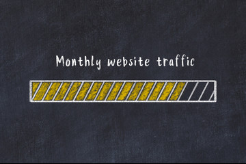 Chalk drawing of loading progress bar with inscription monthly website traffic