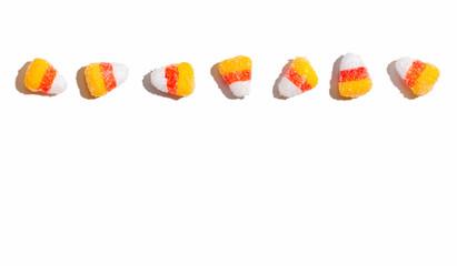 Halloween candy corn - overhead view flat lay