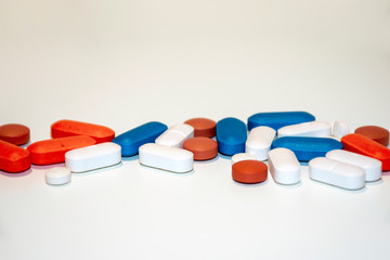 Pharmaceutical pills in a row