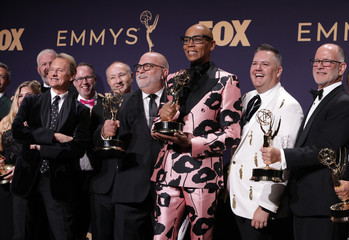 71st Primetime Emmy Awards - Photo Room – Los Angeles, California, U.S., September 22, 2019 - The cast of RuPaul's Drag Race pose backstage with their award for Outstanding Competition Program