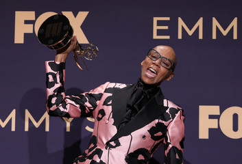 """71st Primetime Emmy Awards - Photo Room – Los Angeles, California, U.S., September 22, 2019 - RuPaul poses backstage with his award for Outstanding Competition Program for """"RuPaul's Drag Race"""""""