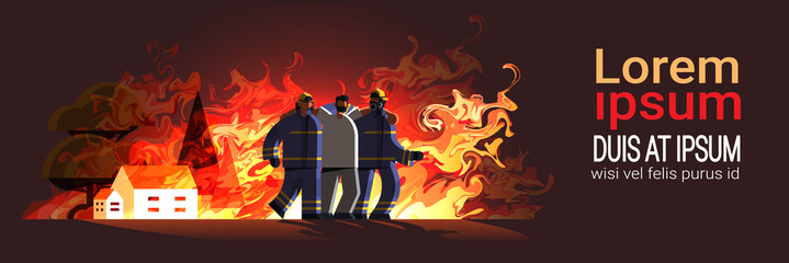 brave firemen couple rescuing injured man from burning house firefighters team in uniform firefighting emergency service extinguishing flame concept flat full length horizontal copy space