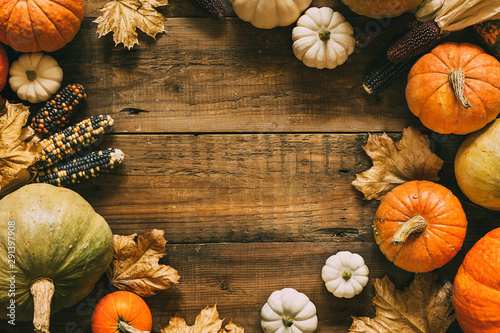 Different pumpkins on wooden surface with copy space.