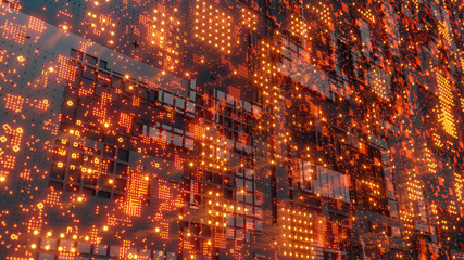 Abstract futuristic design. Tech wall with red bright elements Fototapete