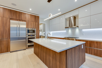 Interior design of a modern kitchen in the newly built house  with stainless steel appliances.