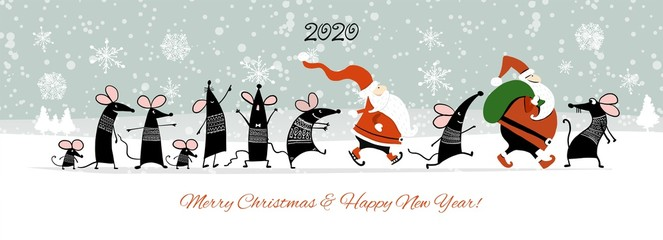 Christmas card with funny mouse and Santa in winter forest, symbol of 2020 year