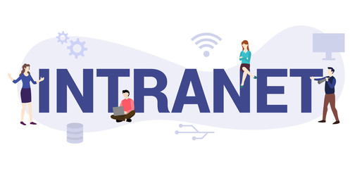 intranet internet network concept with big word or text and team people with modern flat style - vector