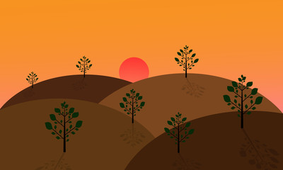 Fotobehang Oranje eclat landscape with green trees on the hills at sunset.vector design
