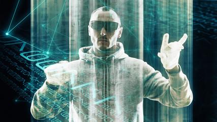 Security threats in digital transformation in computer binary code stream, big data spying man
