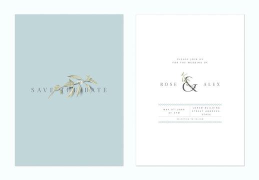Minimalist botanical wedding invitation card template design, lemon sprig on blue and white, vintage style