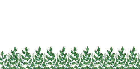 Watercolor illustration of a border of green leaves painted by watercolor in hand and is perfect for all types of design and printing. Wall mural