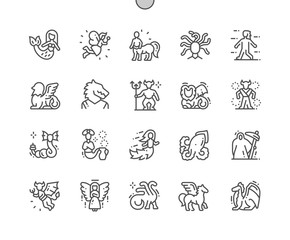Fototapeta Mythical creatures Well-crafted Pixel Perfect Vector Thin Line Icons 30 2x Grid for Web Graphics and Apps. Simple Minimal Pictogram