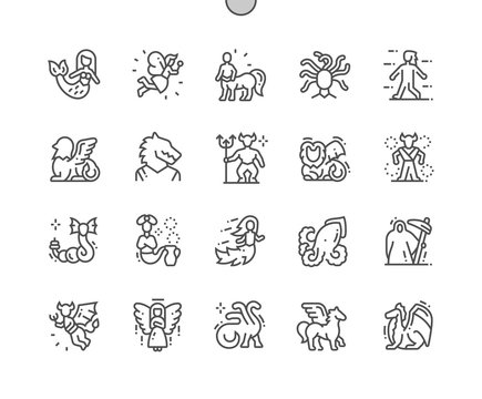 Mythical creatures Well-crafted Pixel Perfect Vector Thin Line Icons 30 2x Grid for Web Graphics and Apps. Simple Minimal Pictogram