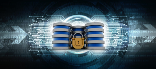 3d illustration Database storage security concept. Disk with lock Wall mural