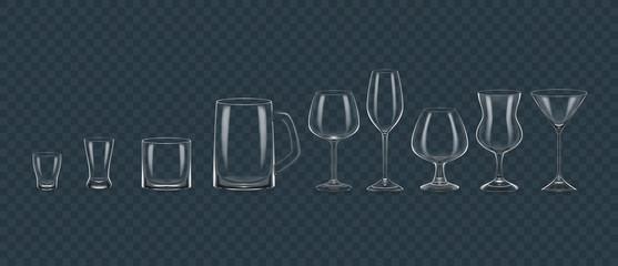 Transparent realistic templates alcohol glasses mugs mock up