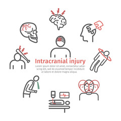 Traumatic brain injury banner, line icon. Head Injury Treatment. Vector signs for web graphics.