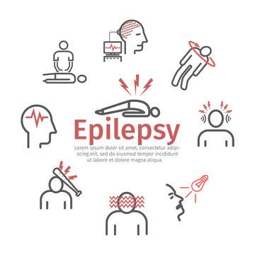 Epilepsy banner. Symptoms, Treatment. Line icons set. Vector signs for web graphics.
