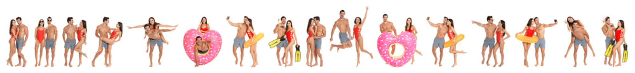 Collage of beautiful young woman in bikini with her boyfriend on white background. Lovely couple