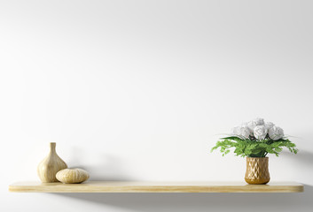 Shelf with bouquet of white roses in copper vase over white wall 3d rendering